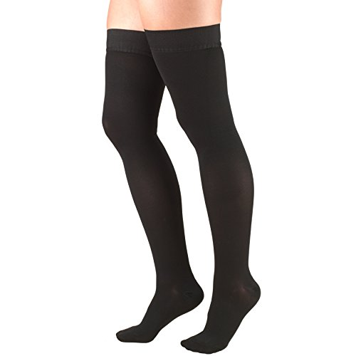 Truform 30-40 mmHg Compression Stockings for Men and Women, Thigh High Length, Dot-Top, Open Toe, Black, Large (30-40 mmHg)