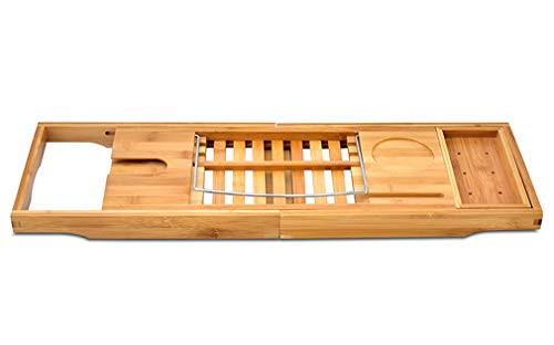 Bamboo Bathtun Serving Trays Wooden Tray-Organized for Any Size Bath Tub, Phone and Tablet Compartments, Holder Cellphone Tray and Wineglass Holder by Feel Young