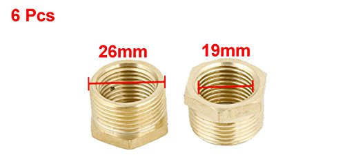 uxcell 6pcs Brass 1//2PT Female to 3//4PT Male Thread Hex Reducer Bushing