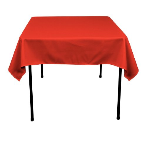 Square Polyester Tablecloth 54x54 Inches (Multiple Colors Available) By Runner Linens Factory (Red) (Christmas Tablecloth In Colour)