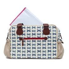 a7e8bb4821 Image Unavailable. Image not available for. Colour: Pink Lining Not So  Plain Jane Changing Bag Navy Bows