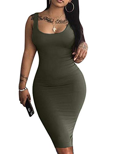 (LAGSHIAN Women's Sexy Bodycon Tank Dress Sleeveless Basic Midi Club Dresses Olive)