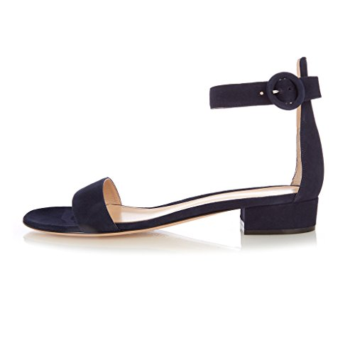 Low Flats Summer Sandals 2cm Toe Buckle Ankle Flat Sandals Open Heel ELASHE Womens Navy qPwT7z7U
