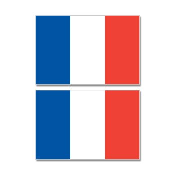 France French Country Flag - Sheet of 2 - Window Bumper Stickers (French Flag Sticker)