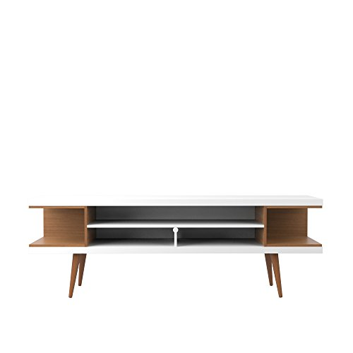 Manhattan Comfort Utopia Collection Mid Century Modern TV Stand With Open 3 Open Shelves and Two Open Cubbies, White/Wood (Best Mid Priced Receiver)