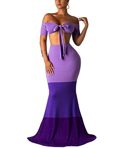 Women Sexy Maxi Dress Strapless Bandage Tube Color Block Summer Beach Two Piece Long Swing Dress Purple - Patchwork Tube