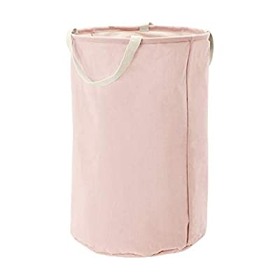 AmazonBasics Fabric Storage Bin - Tall Round, Dusty Pink - Canvas storage bin for laundry, toys, shoes, and more 50% cotton and 50% polyester construction Durable polypropylene-coated interior offers durability and stain-resistance - living-room-decor, living-room, baskets-storage - 31VbMV9rbUL. SS400  -