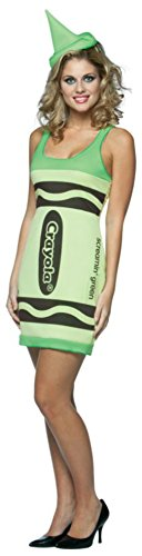 Rasta Imposta Womens Crayola Crayon Tank Dress Green Comical Halloween Costume, One Size (4-10)