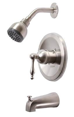 Premier Faucet 119274 Premier Wellington Single-Handle Tub & Shower Faucet, PVD Brushed Nickel