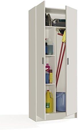 SERMAHOME- Armario Multiusos Escobero de 2 Puertas. Color Blanco. Medidas: 73 x 180 x 37 cm.: Amazon.es: Hogar