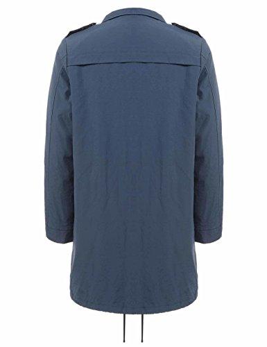 Doudoune Imperméable Bleu Bouton Zip Poche Uni Femme Blouson Casual Léger Meaneor Long Foncé z4xB5wqPg