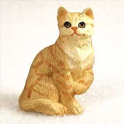 (Orange Tabby Miniature Cat Figurine)