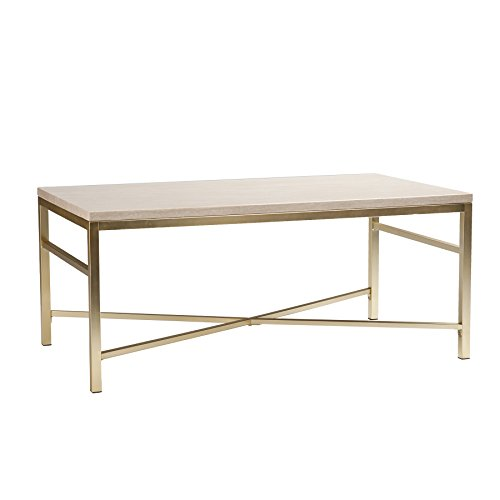 Southern Enterprises Orinda Travertine Faux Stone Cocktail Table