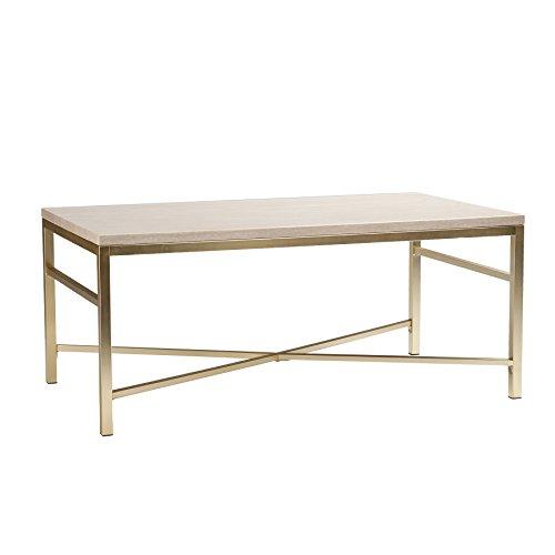 (Southern Enterprises Orinda Metal Coffee Table in Travertine)