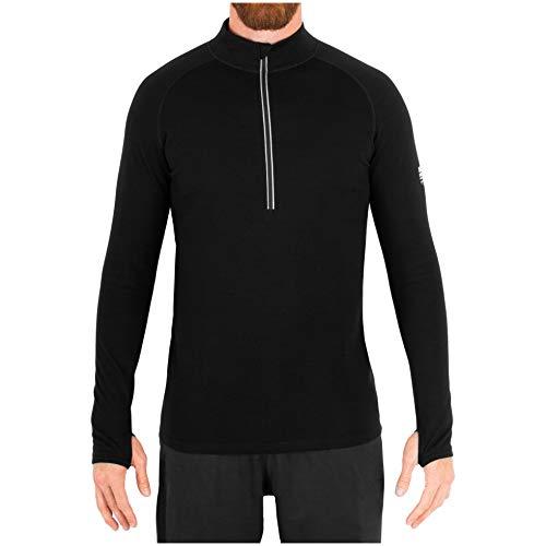 MERIWOOL Mens Merino Wool Heavyweight Half Zip Mock Neck Pullover Sweater - Black/XL (Neck Sweater Half Mock Zip)