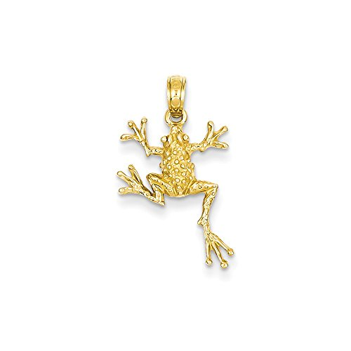 14k Yellow Gold Open-Backed Frog Pendant 24mm Length