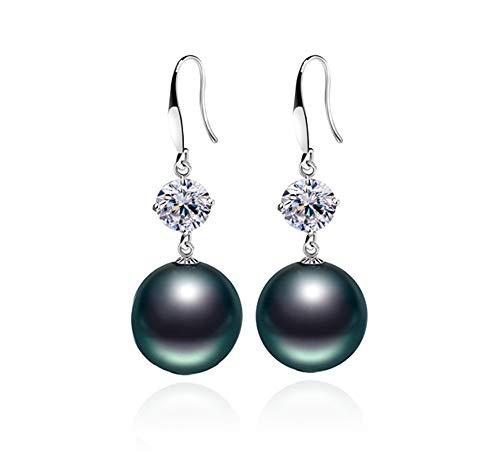 Rakumi Sterling Silver 10mm Black Seashell Pearl Dangle Earrings