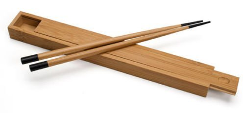 UPC 791102806217, New Bamboo Lacquered Chopsticks Black or Red Tipped with Case Japanese Style (Black) by Brand new