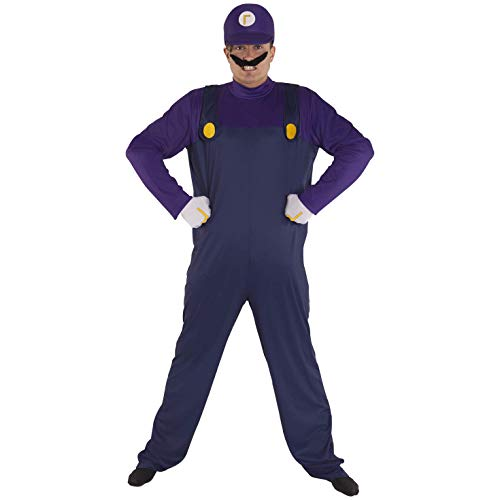 Morph Adult Super Waluigi Costume, 80's Plumber Gaming Outfit Size Std 42-44