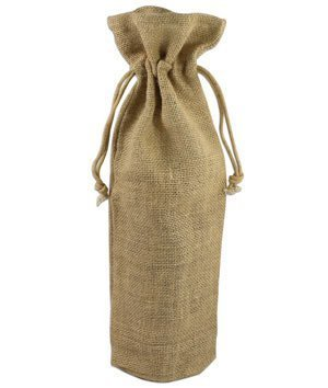 Natural Jute Wine Bags With Drawstrings - 5 Pack (Burlap Wine Bottle Bags compare prices)