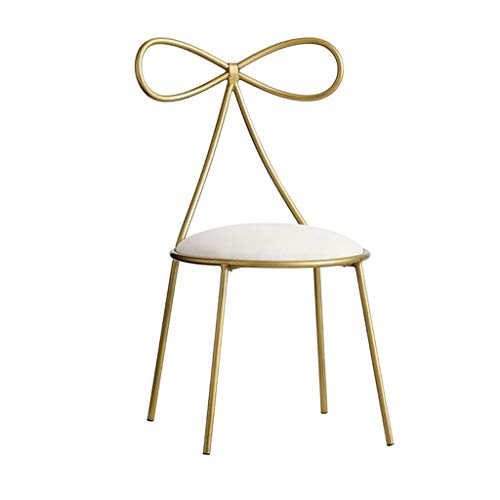 Home Warehouse Golden Backrest Chair,Creative Iron Nail Stool Living Room Balcony Decorative Chairs Leisure Reading Chair Girls Butterfly Bow Tie Metal Chair,404080CM ()