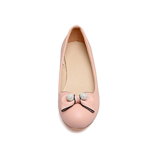 Ifantasy Femmes Bout Rond Talon Compensé Pompes Robe Bowknot Chaussures Oxford Rose