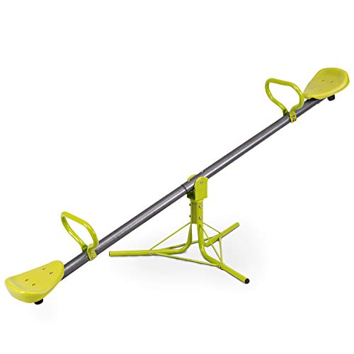 Costzon Kids Seesaw Swivel, Backyard Teeter Totter Playground Equipment, Outdoor with 360 Degree Rotation, Stopper Pole, Comfortable Seat & Handle Green