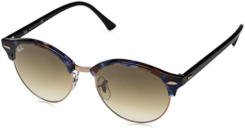 Ray-Ban RB4246 Clubround Sunglasses, Spotted Brown & Blue/Brown Gradient, 51 ()