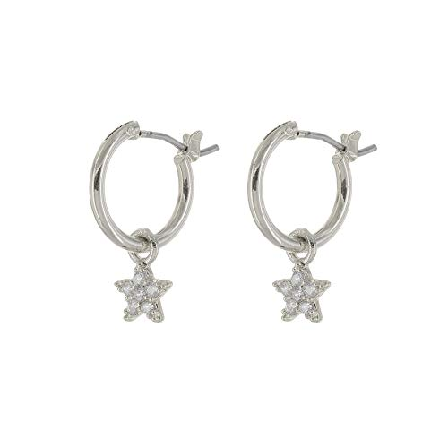 (Columbus 18k Gold Dipped Huggie Hoop Earrings - Moon, Star and Lightning Bolt Charms (Silver CZ)
