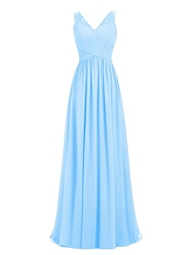 A-line V-Neck Chiffon Long Empire Bridesmaid Dresses Simple Prom Dresses (US12, Sky Blue)
