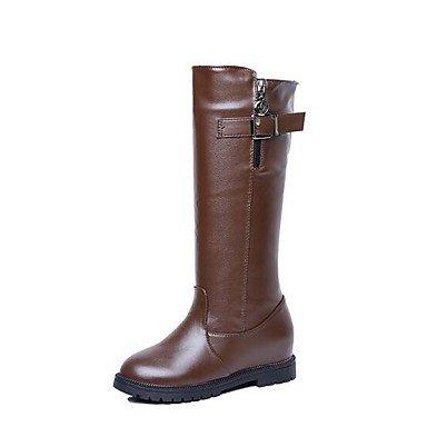 Botas De Botas 7 EU37 UK4 RTRY Otoño Oscuro Zapatos 5 Altas Charol Talón Botas US6 Negro 5 Chunky Mujer Marrón Rodilla De Para Casual Moda Combate Botas CN37 Invierno 5 xq5z405wn