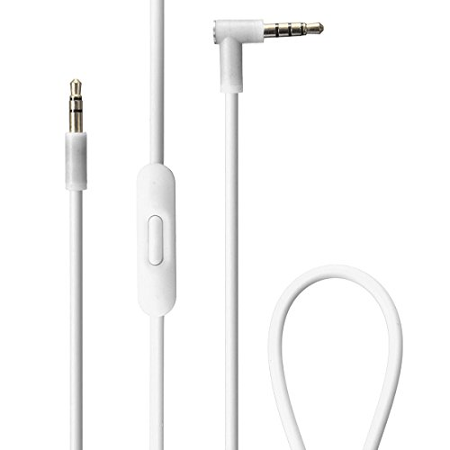 Replacement Audio Cable, M.Way 1.3m Audio 3.5mm Plug Cord Wire In-line Remote & Microphone Remote Talk Audio Cable Replacement For Beats by Dr Dre Headphones White