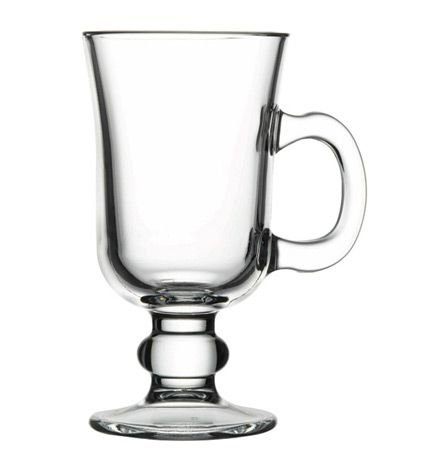 Pasabahce 55141, 7 3/4 oz Noteworthy Glass Irish Coffee Mug with Heavy Base, Solid Glass Coffee Cup, Tea Coffee Mugs With Handle, Hot Or Cold Drinks, Set of 6