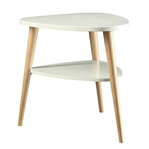 Legacy Home LTD Milo Triangle Accent Table with Round Legs White White Finish ()
