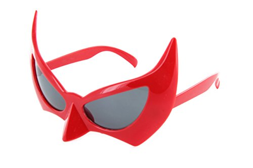 Mask Batman Costume Red (MJ Eyewear Batman Sunglasses Face Mask Catwoman Costume (Red,)