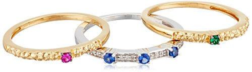 14K-Yellow-Gold-over-Sterling-Silver-Created-Emerald-Created-Ceylon-Sapphire-and-Created-Ruby-with-Diamond-Accents-Stackable-Ring-Size-8