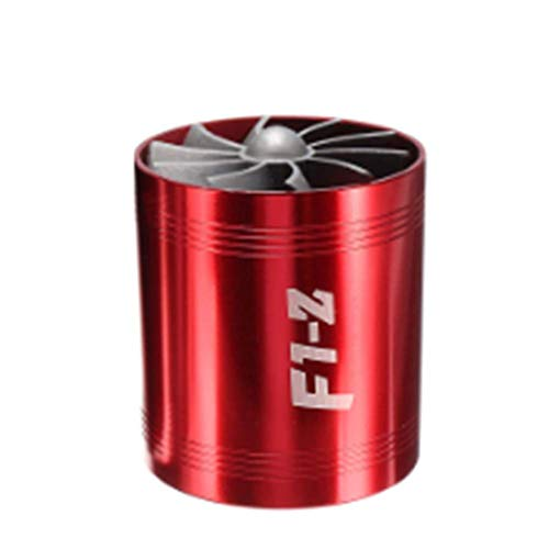 JenNiFer Universal Car Turbo Supercharger Air Intake Dual Fan Turbonator Gas Fuel Saver - Red: