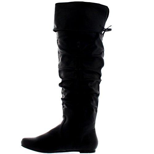 Mujer Equitación Muslo Invierno Biker Zapatos Moda Alto Pirata Botas Negro