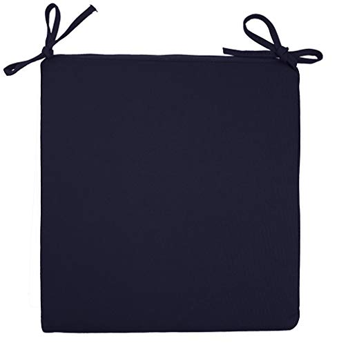 Sigmat Indoor/Outdoor Square Seat Cushions Water Resistant Chair Cushion Solid Portable Chair Pad Navy 16 Inch