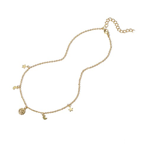 Gold Moon Star Tiny Choker Necklaces,18K Gold Plated Lucky Star Sun Dainty Cute Handmade Chokers Necklaces Jewelry Gift for ()
