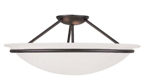 Semi Flush Mounts 3 Light with White Alabaster Glass Black 20 in 225 W - World of - Crystal Glass White