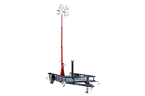 4000W 3-Stage Light Mast on 14' Single Axle Trailer - 220V (4) 1000W MH - 30' Mast - Red - 50' Cord