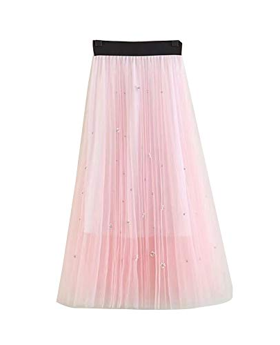 Femme Dentelle Double Couche Jupe Maxi Taille Haute lgante Classique Chic Casual A-Line Jupes Rose