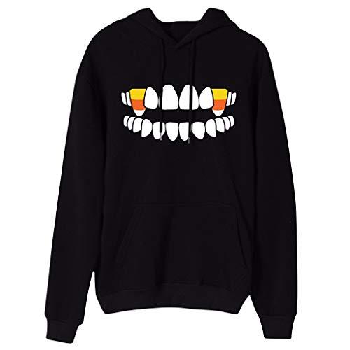 Women Halloween Hoodies Skull Candy Print Costumes Long Sleeves Pullover Hooded Sweatshirt - Limsea