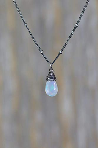 Dainty White Opal Gemstone Drop Necklace- Sterling Silver- October birthstone- 17
