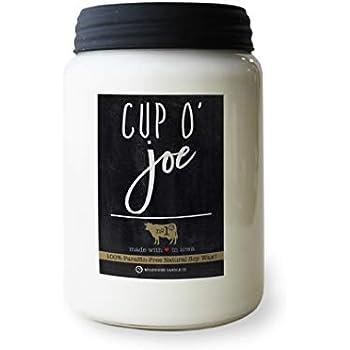 Milkhouse Candle Company, Farmhouse Collection Mason Jar Candle, 26 Ounce Apothecary Jar, Cup O' Joe