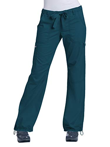 (KOI Women's Lindsey Ultra Comfortable Cargo Style Scrub Pants (Petite Sizes), Caribbean, X-Large)