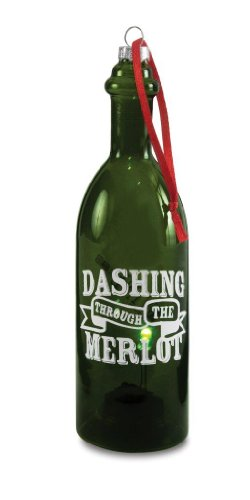 Pavilion Gift Company Wine All The Time 22047 Wine Bottle, Dashing Through, 7-Inch