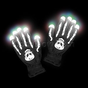 Led Light Skeleton Costume (1 Pair of LED Flashing Light Up Party Rave Gloves - Various Styles by Mammoth Sales (Skeleton))