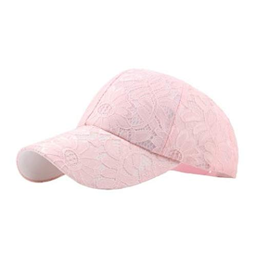 (Summer Women Breathable Baseball Cap Lace Velvet Ventilated Mesh Hat for Adult Embroidered Decorated Visor Cap Pink)